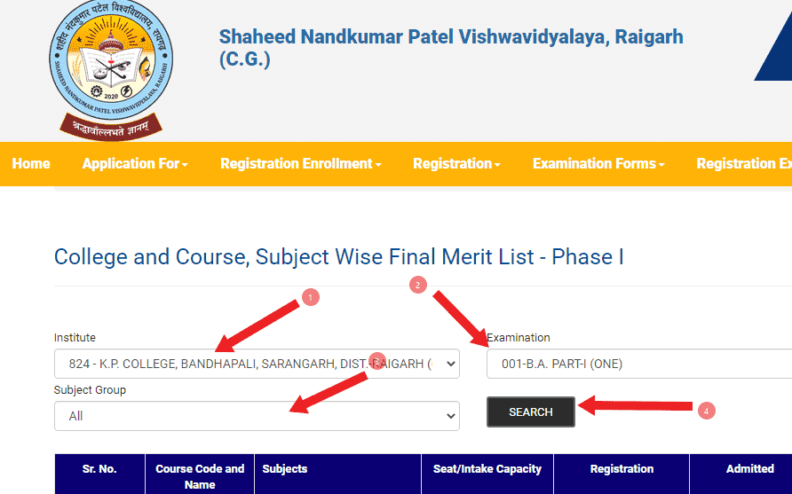 College and Course, Subject Wise Final Merit List - Phase I
